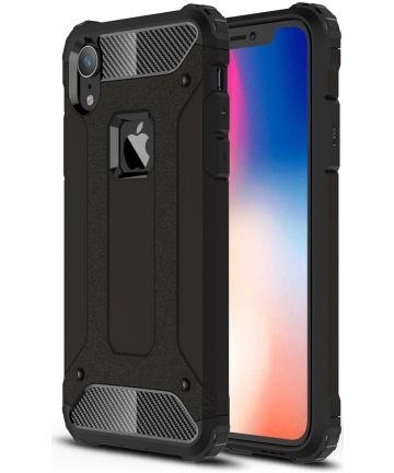 Apple IPhone XR Hoesje Shock Proof Hybride Back Cover Zwart Hoesjes