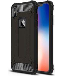 Apple iPhone XS Max Hoesje Shock Proof Hybride Back Cover Zwart