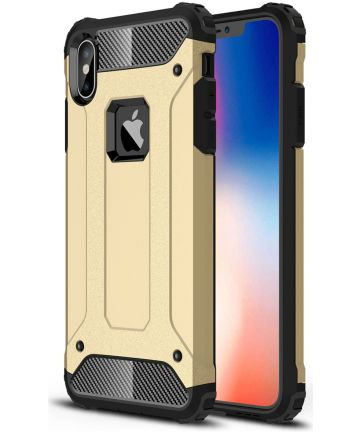 Apple IPhone XS Max Hoesje Shock Proof Hybride Back Cover Goud