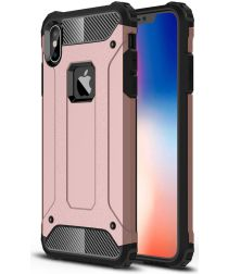 Apple IPhone XS Max Hoesje Shock Proof Hybride Back Cover Roze Goud