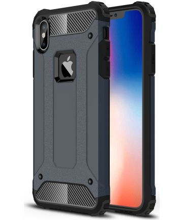 Apple IPhone XS Max Hoesje Shock Proof Hybride Back Cover Blauw