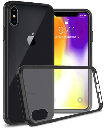 Apple iPhone XR Hoesje Armor Back Cover Transparant Zwarte Hoesjes