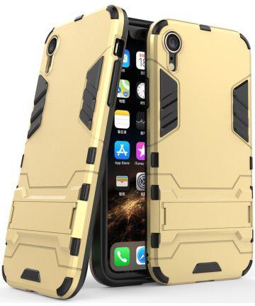 Apple iPhone XR Hybride Hoesje met Standaard Goud Hoesjes