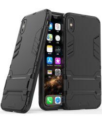 Apple iPhone XS Max Hybride Hoesje met Standaard Zwart