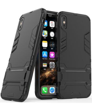 Apple iPhone XS Max Hybride Hoesje met Standaard Zwart Hoesjes