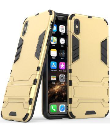 Apple iPhone XS Max Hybride Hoesje met Standaard Goud Hoesjes
