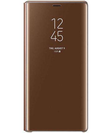 Samsung Galaxy Note 9 Clear View Flip Case Bruin Hoesjes