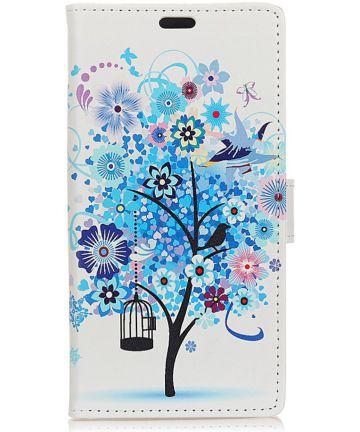 Huawei P Smart Plus Portemonnee Hoesje met Boom Print Blauw