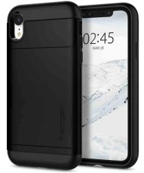 Spigen Slim Armor Hoesje met Kaarthouder Apple iPhone XR Black