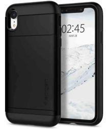 Spigen Slim Armor Card Holder Case Apple iPhone XR Hoesje Zwart