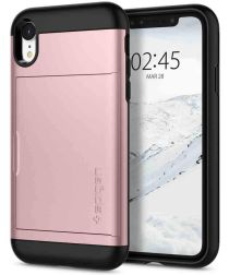Spigen Slim Armor Card Holder Case Apple iPhone XR Rose Gold