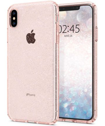 Spigen Liquid Crystal Apple iPhone XS Max Hoesje Glitter Rose Quartz Hoesjes
