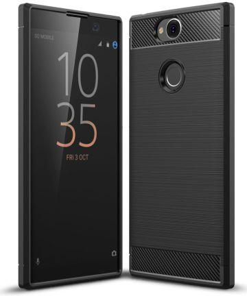Sony Xperia XA2 Plus Geborsteld TPU Hoesje Zwart