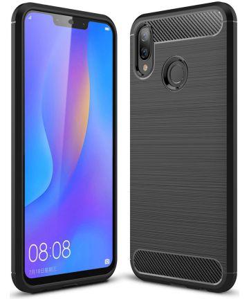 Huawei P Smart Plus Geborsteld TPU Hoesje Zwart Hoesjes