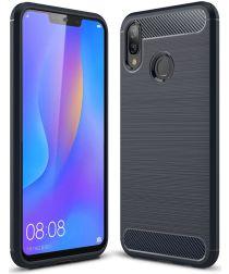 Huawei P Smart Plus Geborsteld TPU Hoesje Blauw