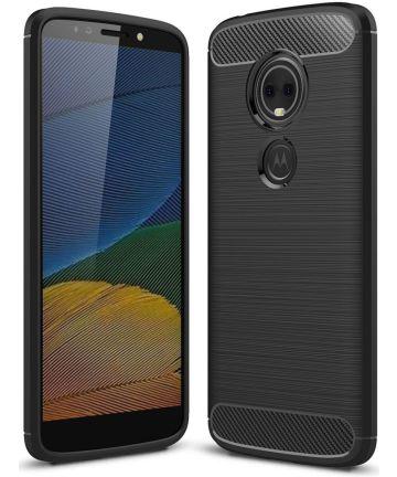 Motorola Moto G6 Play Geborsteld TPU Hoesje Zwart Hoesjes