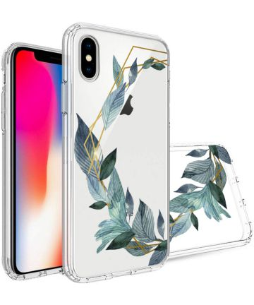 Apple iPhone X Transparante Print Back Cover Hoesje Bloem