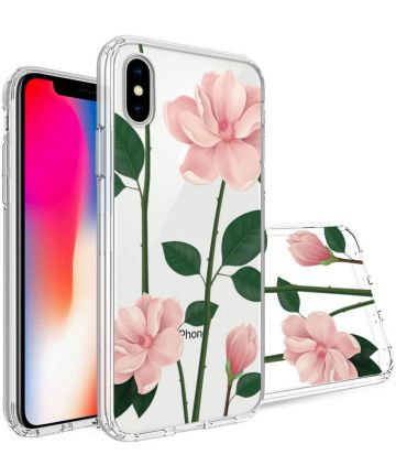 Apple iPhone X Transparante Print Back Cover Hoesje Floral Hoesjes
