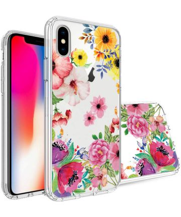 Apple iPhone X Transparante Print Back Cover Hoesje Spring Flowers