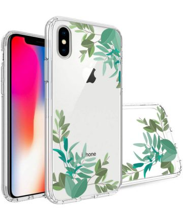 Apple iPhone X Transparante Print Back Cover Hoesje Leafs Hoesjes