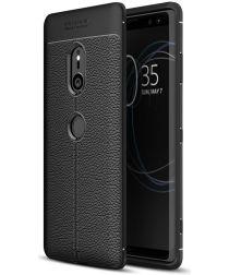 Sony Xperia XZ3 Hoesje met Kunstleer Coating Zwart