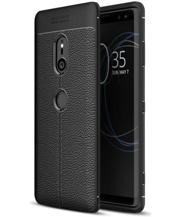 Sony Xperia XZ3 Hoesje TPU Met Leren Textuur Zwart
