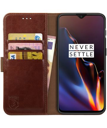 Rosso Element OnePlus 6T Hoesje Book Cover Bruin Hoesjes