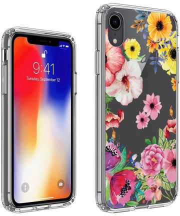 Apple iPhone XR Transparante Print Back Cover Hoesje Bloemen