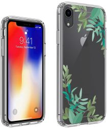 Apple iPhone XR Transparante Print Back Cover Hoesje Leafs
