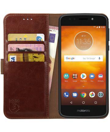 Rosso Element Motorola Moto E5 Play Hoesje Book Cover Bruin Hoesjes