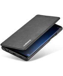 Samsung Galaxy Note 9 Retro Bookcase Hoesje met Kaarthouder Zwart