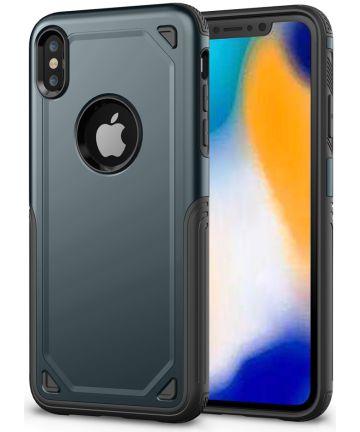 Apple iPhone XS Max Stevig Hybride Hoesje Blauw