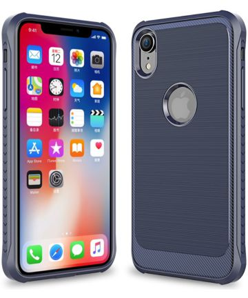 Apple iPhone XR Geborsteld Hybride Hoesje Blauw