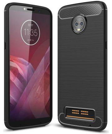 Motorola Moto Z3 Play Geborsteld TPU Hoesje Zwart Hoesjes