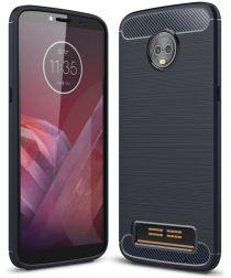 Motorola Moto Z3 Play Geborsteld TPU Hoesje Blauw