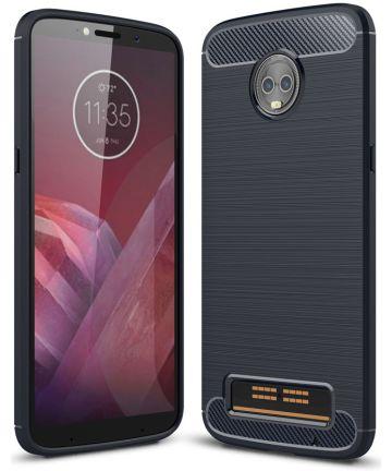 Motorola Moto Z3 Play Geborsteld TPU Hoesje Blauw Hoesjes