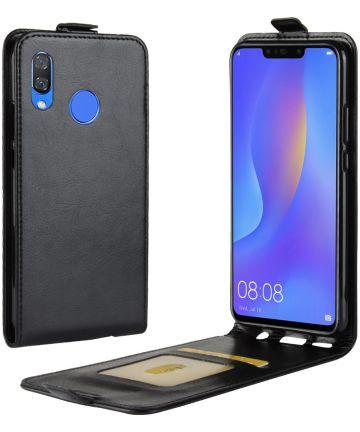 Verticaal Huawei P Smart Plus Flip Hoesje Zwart