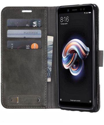 Xiaomi Redmi Note 5 Stijlvol Portemonnee Hoesje Grijs Hoesjes