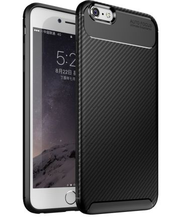Apple iPhone 6(S) Plus Siliconen Carbon Hoesje Zwart