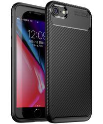 Apple iPhone 7 / 8 Siliconen Carbon Hoesje Zwart