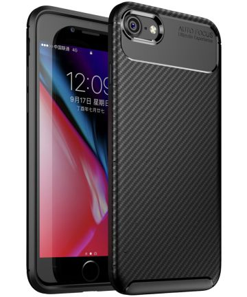 Apple iPhone 7 / 8 Siliconen Carbon Hoesje Zwart Hoesjes