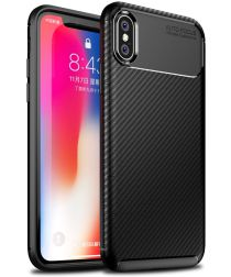 Apple iPhone XS / X Siliconen Carbon Hoesje Zwart