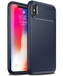 Apple iPhone XS / X Siliconen Carbon Hoesje Blauw