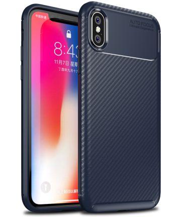 Apple iPhone XS / X Siliconen Carbon Hoesje Blauw Hoesjes
