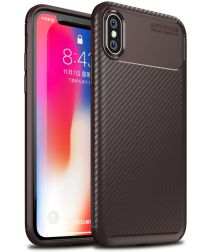 Apple iPhone XS / X Siliconen Carbon Hoesje Brons