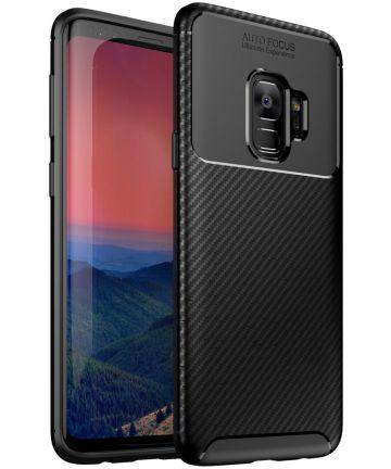 Samsung Galaxy S9 Siliconen Carbon Hoesje Zwart Hoesjes