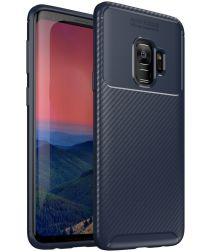 Samsung Galaxy S9 Siliconen Carbon Hoesje Blauw