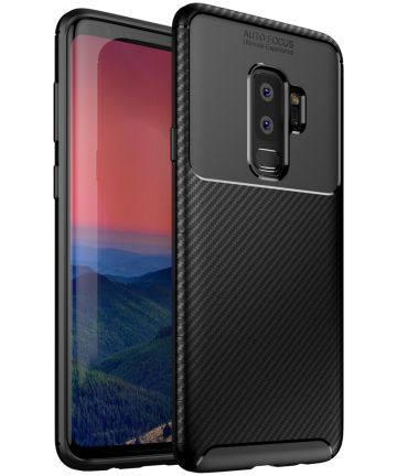Samsung Galaxy S9 Plus Siliconen Carbon Hoesje Zwart