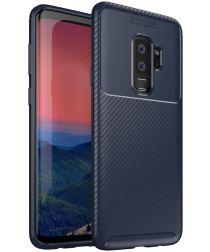 Samsung Galaxy S9 Plus Siliconen Carbon Hoesje Blauw