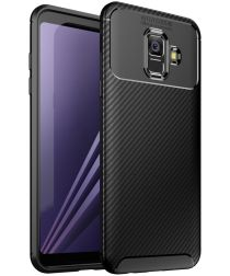 Samsung Galaxy A6 Siliconen Carbon Hoesje Zwart